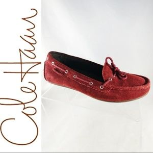 Cole Haan Maroon Boat Soft Suede Slip On shoes 8